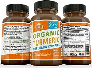 Tumeric Curcumin 95 Percent Curcuminoids: Best Turmeric Anti Inflammatory Joint Pain Relief Max Immune System Booster Liver Detox BioPerine Black Pepper Extract Capsule Boost Immunity Supplement 180