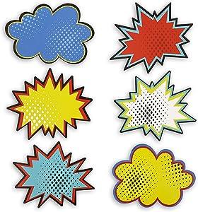 Juvale Bulletin Board Cutout Name Tags, Comic Book Hero Theme (5 x 7 in, 60 Pack)