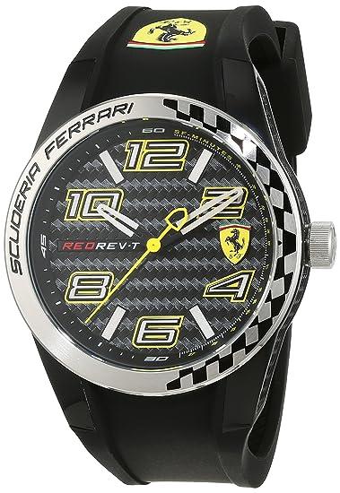 Ferrari 0830337 RedRev T - Reloj analógico de pulsera para hombre (cuarzo, correa de
