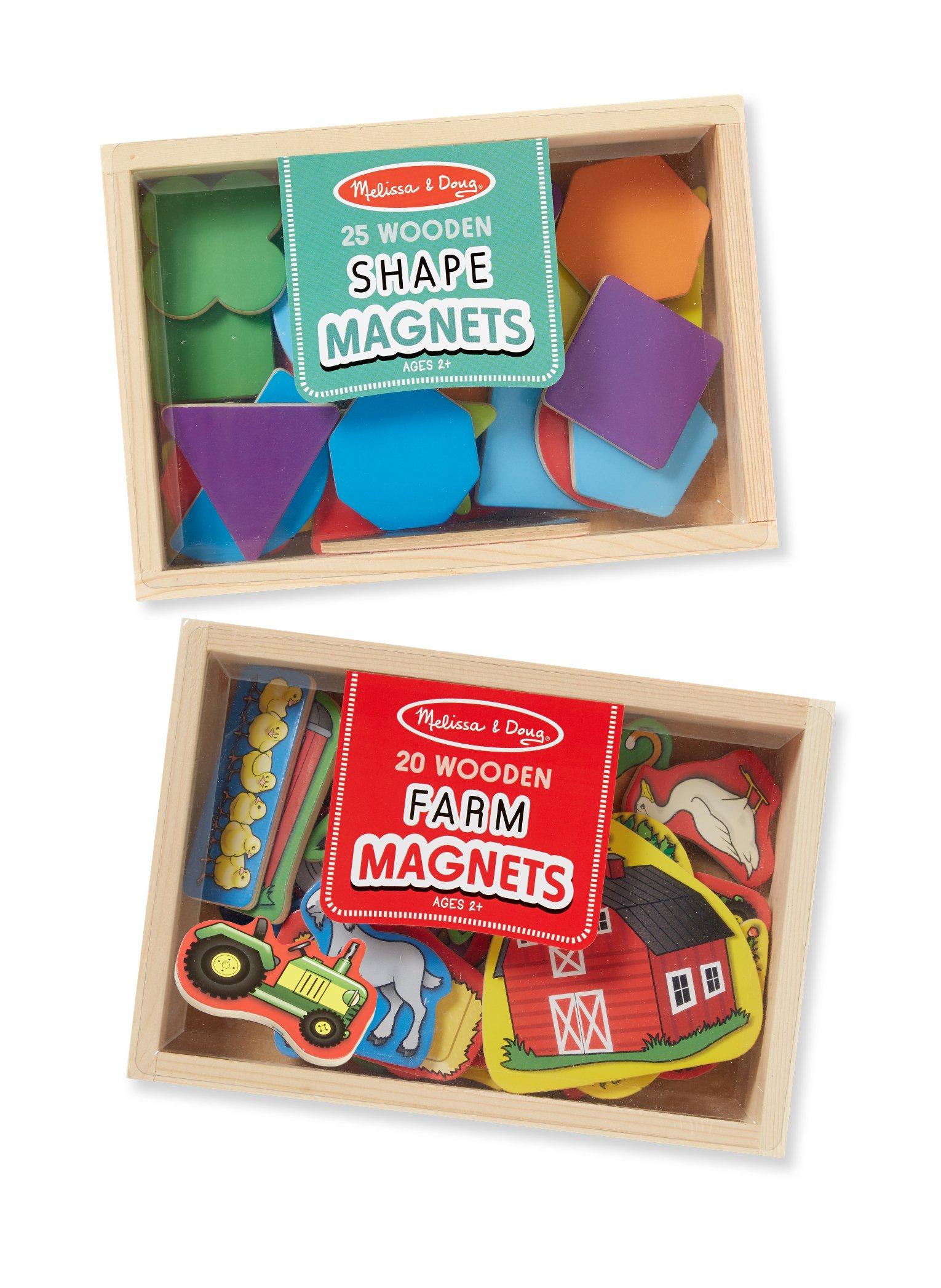 Melissa & Doug Wooden Magnets Set - Shapes and Farm (45 pcs)