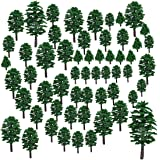 Lingxuinfo 57Pcs Mixed Model Trees Model Train Scenery Model Scenery with No Stands  Trees for Projects, DIY Scenery Landscape Building Model (Green)