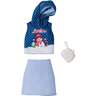 Barbie Holiday Fashion Assortment of Doll Clothes, Complete Outfit Dolls with Let It Snow Hoodie, Skirt & Purse, Gift for 3 to 8 Year Olds: Toys & Games