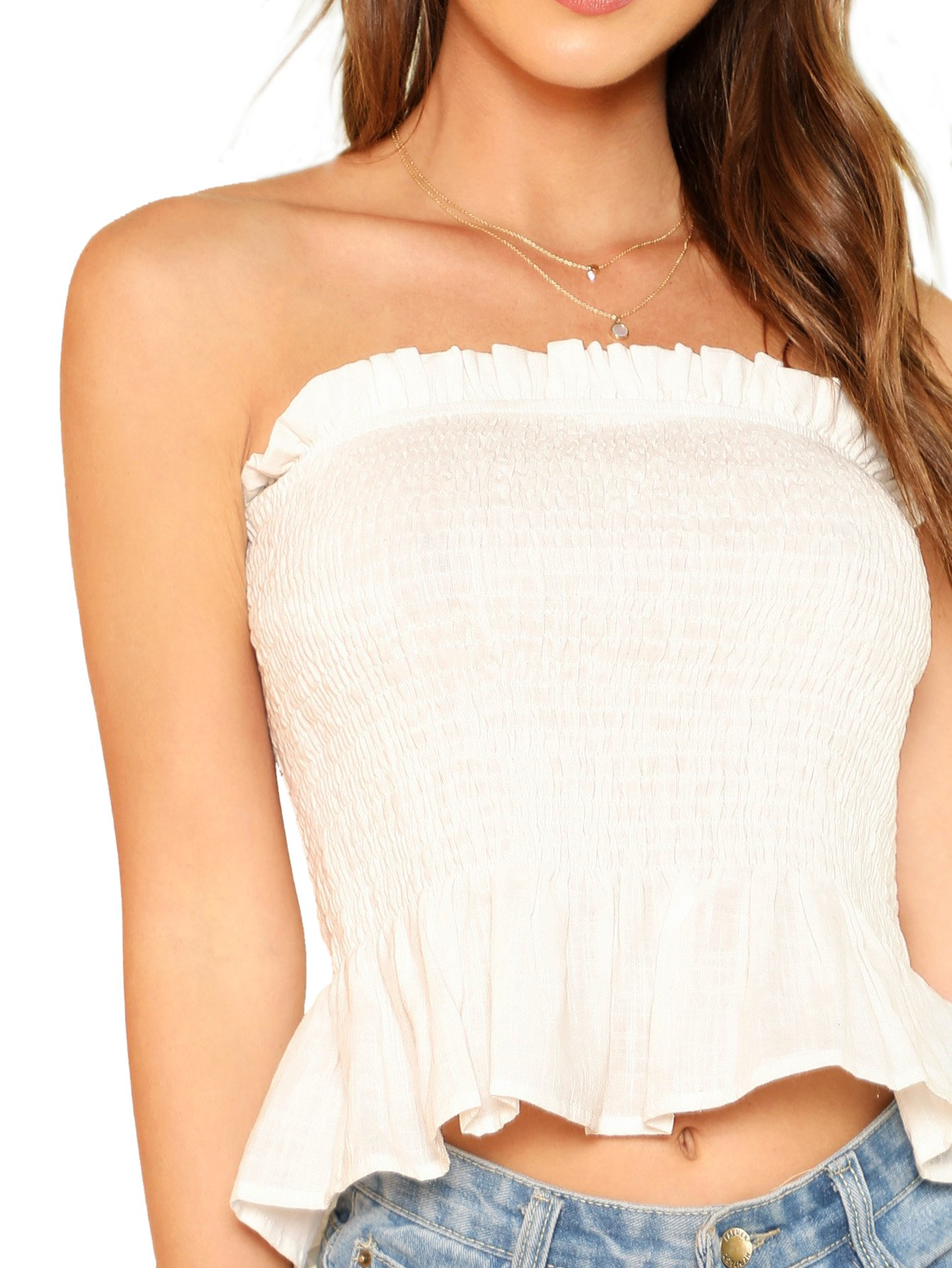 MakeMeChic Women's Sexy Strapless Bandeau Tube Crop Tops 1-White S
