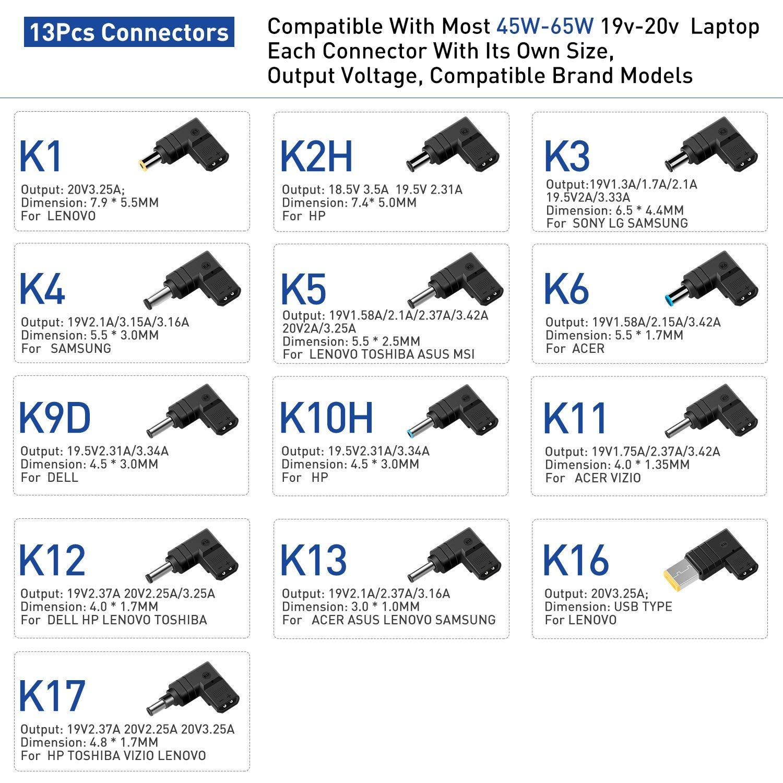 KFD 65W Cargador Universal Port/átil Adaptador para Lenovo MSI DELL Acer ASUS Sony LG Samsung Toshiba Fujitsu Medion HP Compaq Delta Gateway Liteon 15V 16V 18.5V 19V 3.42A 19.5V 20V con 13 Conectores