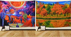 Trippy Space Tapestry Psychedelic Cactus Tapestry Fall Forest Trees Tapestry Wall Hanging for Living Room Christmas, Thanksgiving Day