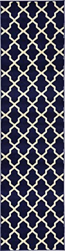 Unique Loom Trellis Collection Geometric Modern Navy Blue Runner Rug 2 7 x 10 0