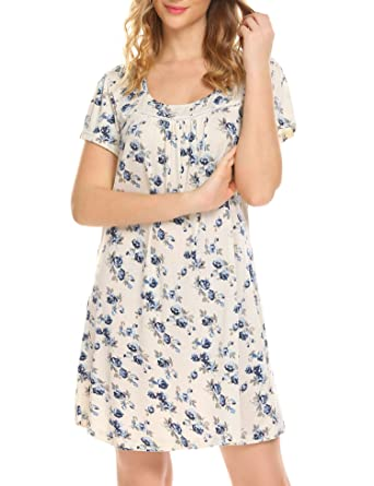 MAXMODA Women Nightgown O-Neck Short Sleeve Floral Print Loose ... 41d381f9d