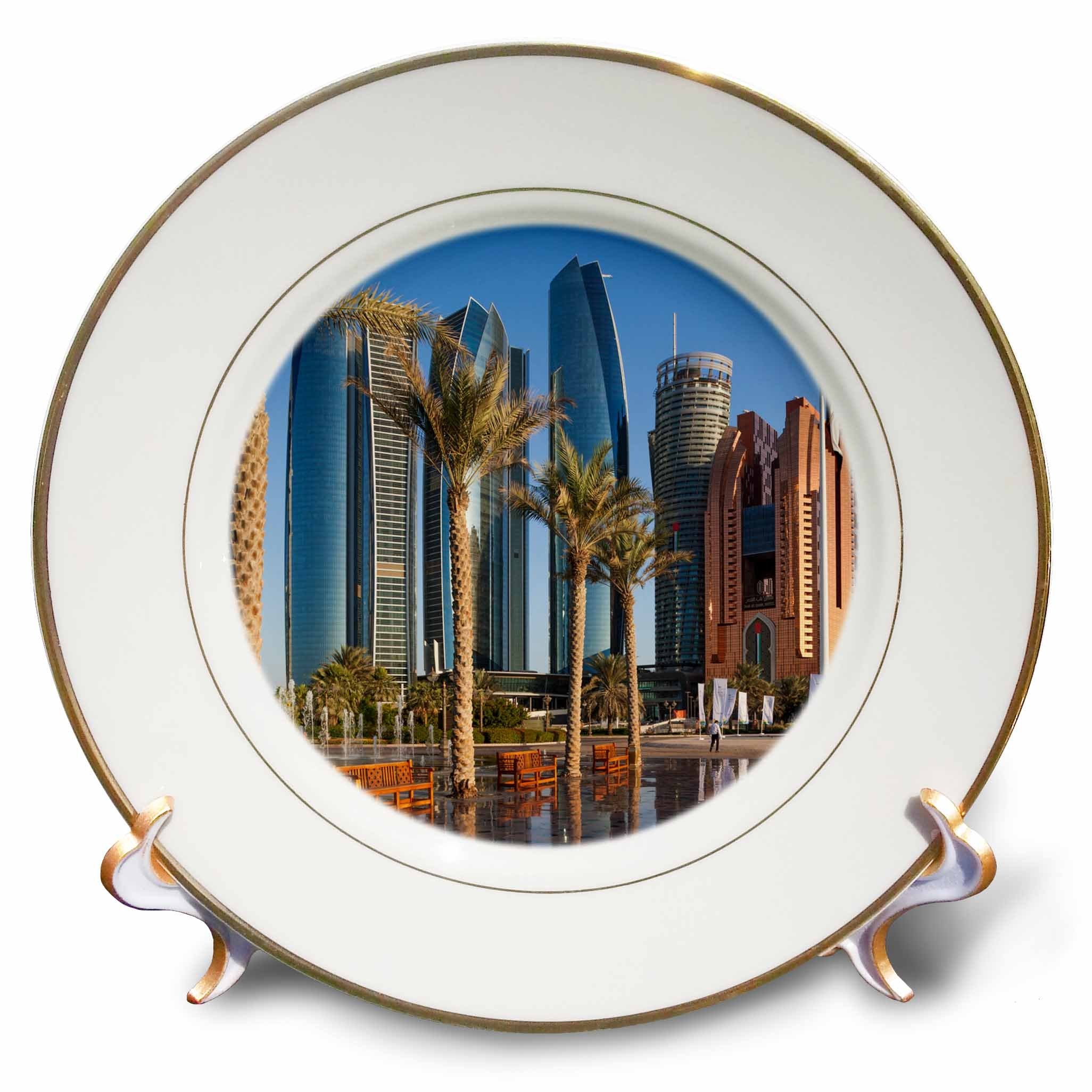 3dRose Danita Delimont - Cities - UAE, Abu Dhabi. Etihad Towers and Emirates Palace Hotel fountains - 8 inch Porcelain Plate (cp_277135_1)