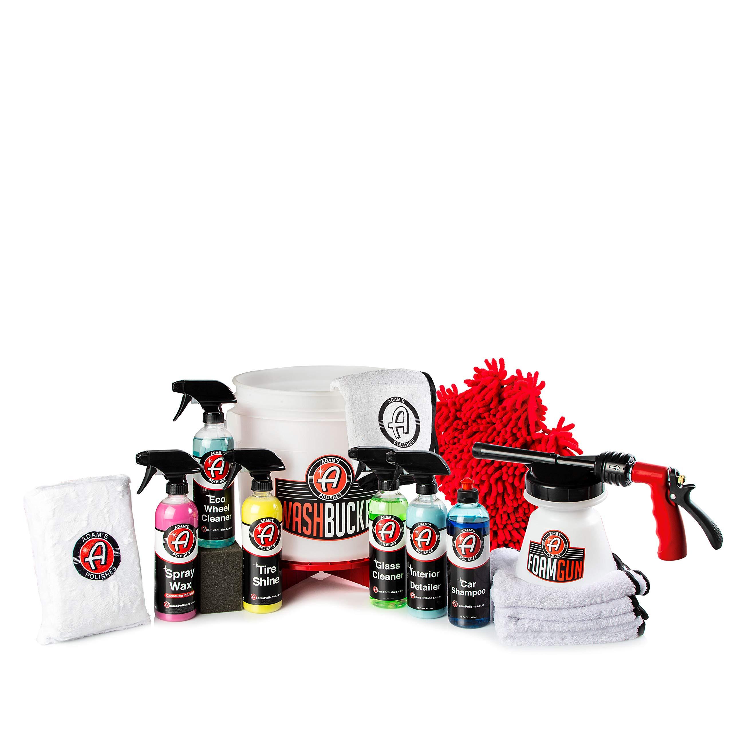 Adam's 17 Piece Arsenal Builder Wash Kit w/Foam Gun, Car Shampoo Soap, Microfiber Towels, Tire Applicator Sponge, Tire Shine, Glass Cleaner, Bucket - Cleaning Supplies for Car, Boat, RV & Motorcycle