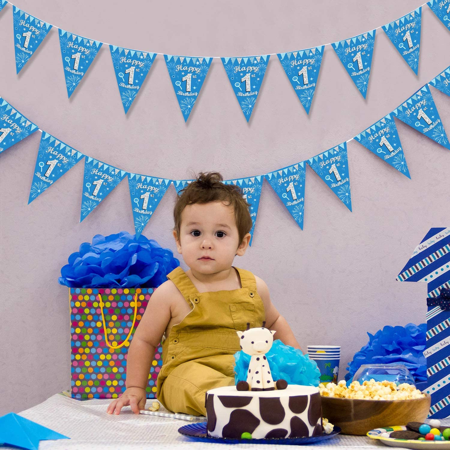 1st Birthday Party Decoration 1st Birthday Banner Flag Pennant Bunting Triangle Party Bunting 9.8 ft Blue Silver Birthday Pennant Banner for Baby Shower Birthday Anniversary Party Supplies 5 Strings