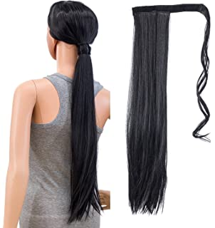 Hivision 24 Long Fishtail Braid Wrap Around Ponytail Extension Synthetic Hairpiece Cosplay Wigs for Women Pale Blonde