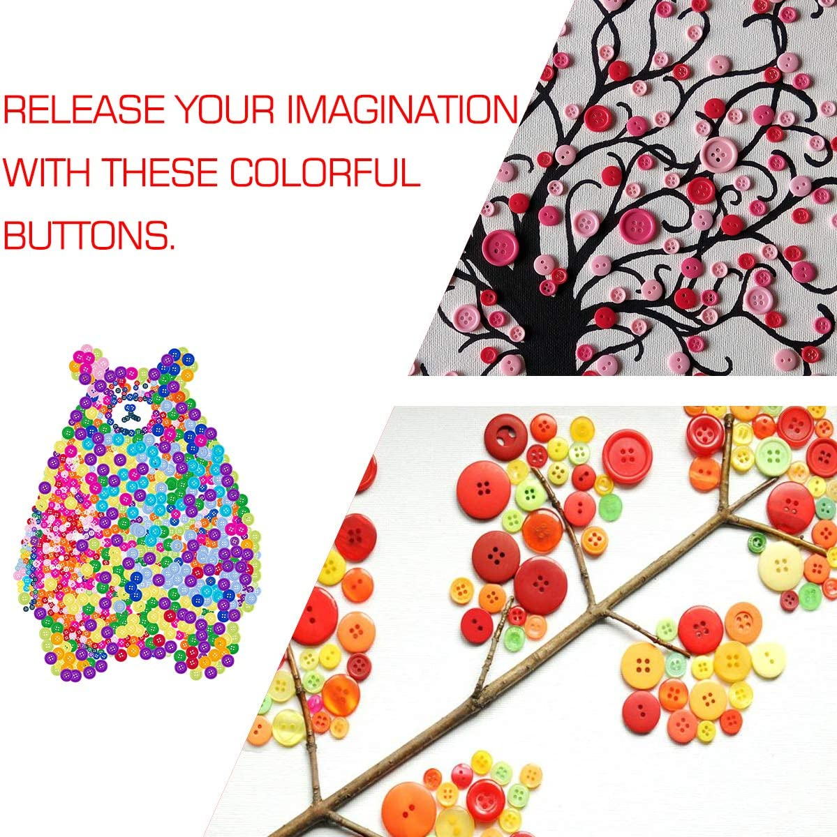 Biubee 1100 Pcs Assorted Size Mixed Color Resin Buttons DIY Handmade Decorations 4 Holes Round Craft Buttons for Sewing Scrapbooking
