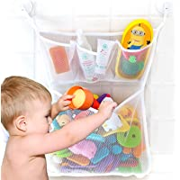 Bath Toy Organizer, Extra Durable Washable Mesh Bath Toy Holder Organizer, Bathtub Toy Organizer, Bath Toy Storage with 4 Suction Cup Hooks, Baby Bath Toy Net Organizer, Tub Toy Organizers for Kids