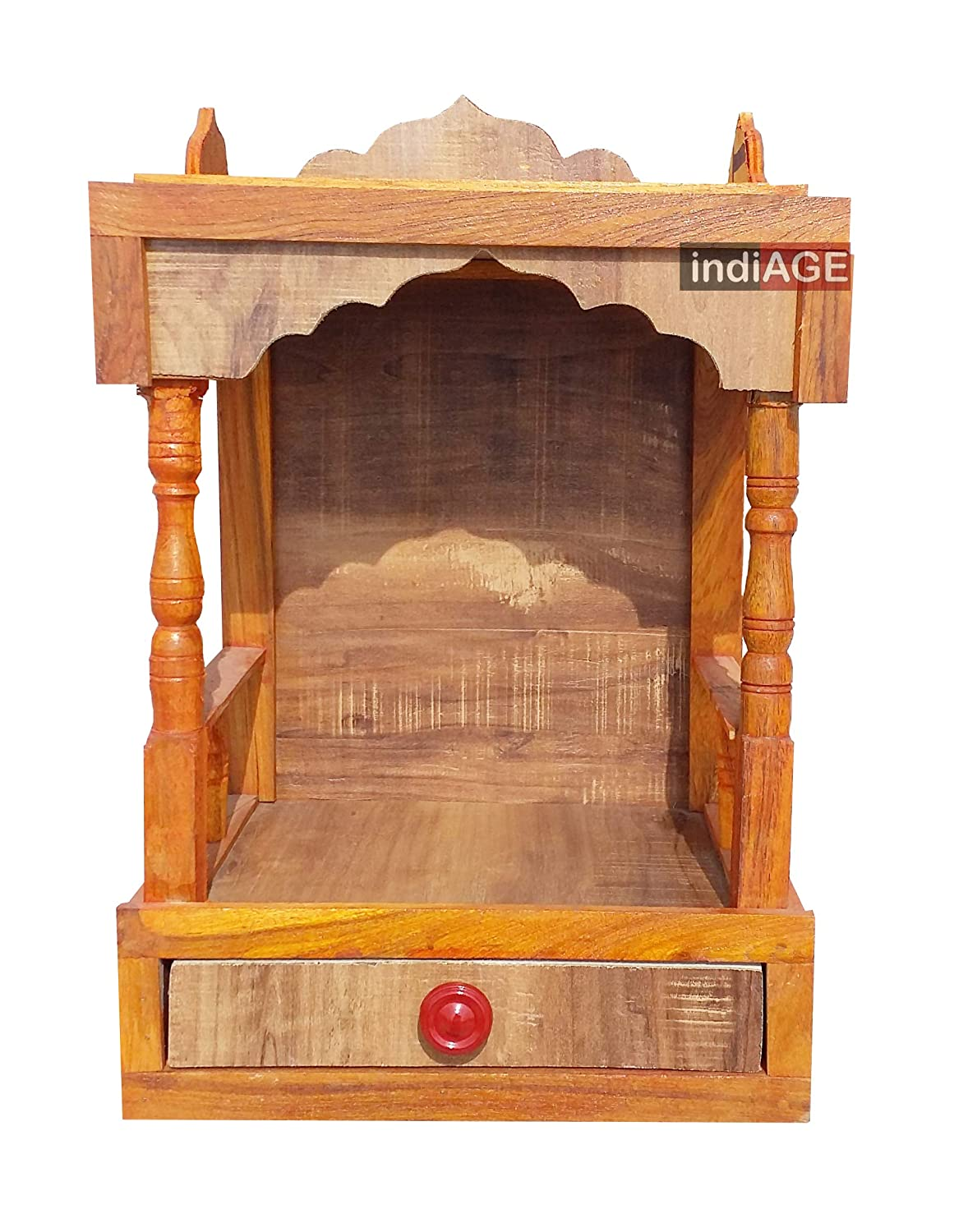 Indiage Wooden Wall Hanging Temple For Pooja Room With Drawer 45 X 20 X 30cm Brown Ia Lmga 1b0