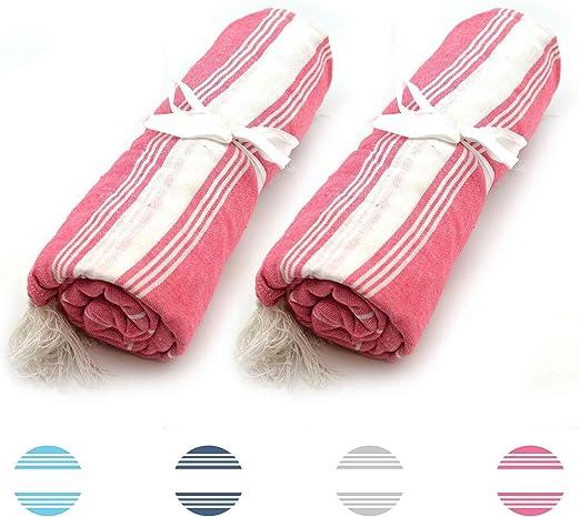 Nicola Spring Toalla de baño - Microfibra de 100 % algodón Turco - Rosa - Pack de 2: Amazon.es: Hogar