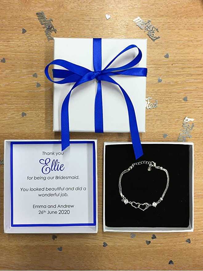 PERSONALISED THANK YOU PRESENT BRIDESMAID MAID OF HONOUR ROYAL BLUE FAVOUR BOX