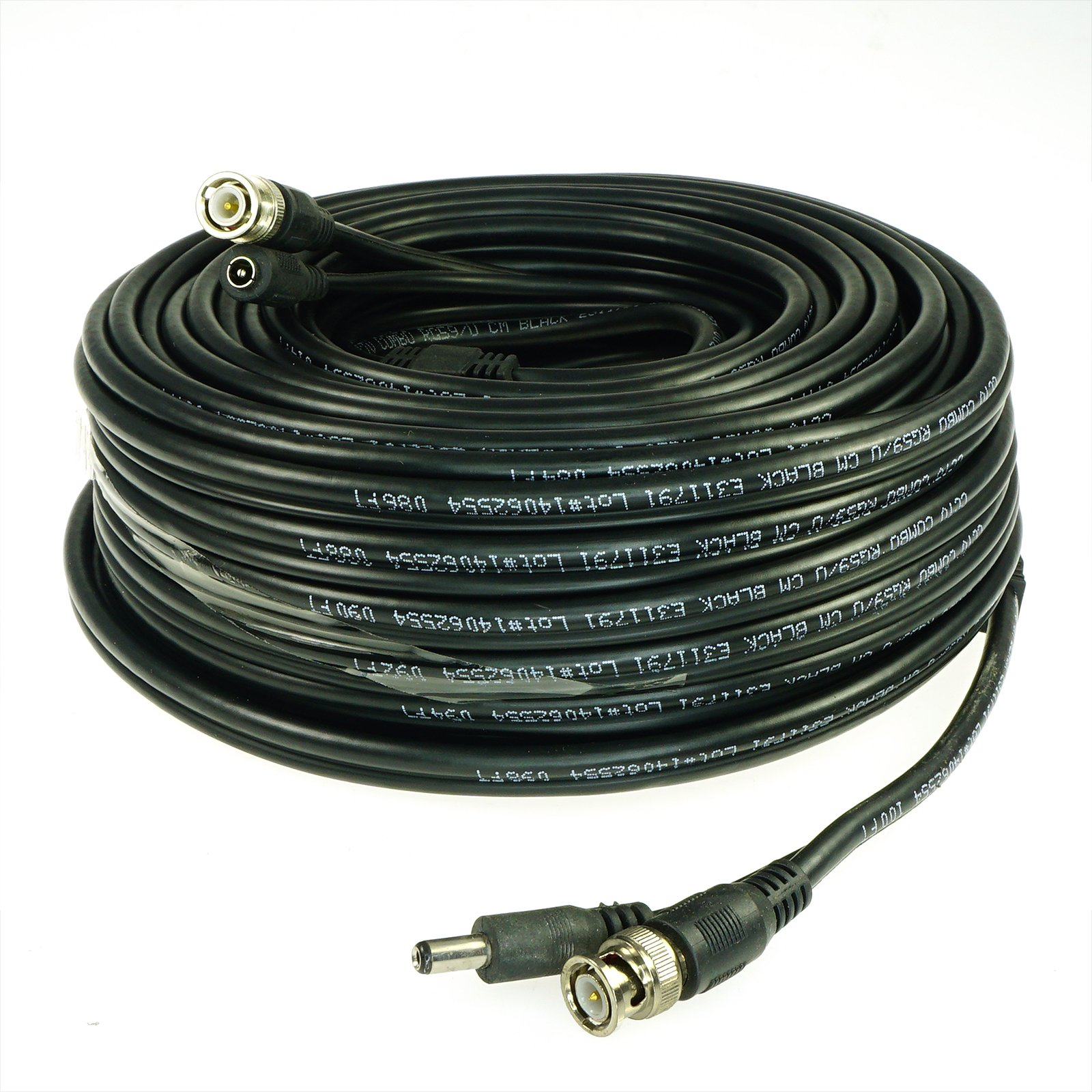 Five Star Cable RG59 150 Ft Siamese Combo Cable for CVI, TVI, AHD and HD-SDI Camera System with BNC Connectors and 2.1mm Power Jack for Plug and Play Connections by Five Star