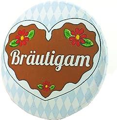 Bräutigam Button - Lebkuchenherz Madl Anstecker Bayern JGA Junggesellinnenabschied 3,8 cm