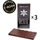 Keto Diet Dark Chocolate Sugar-Free - 3 Pack (100g Each) | Ketogenic, Paleo, Vegan, Primal + High Fiber - No Soy, Gluten, Dairy, Sugar Alcohols, or Artificial Sweeteners | 100% Black w Cacao Nibs
