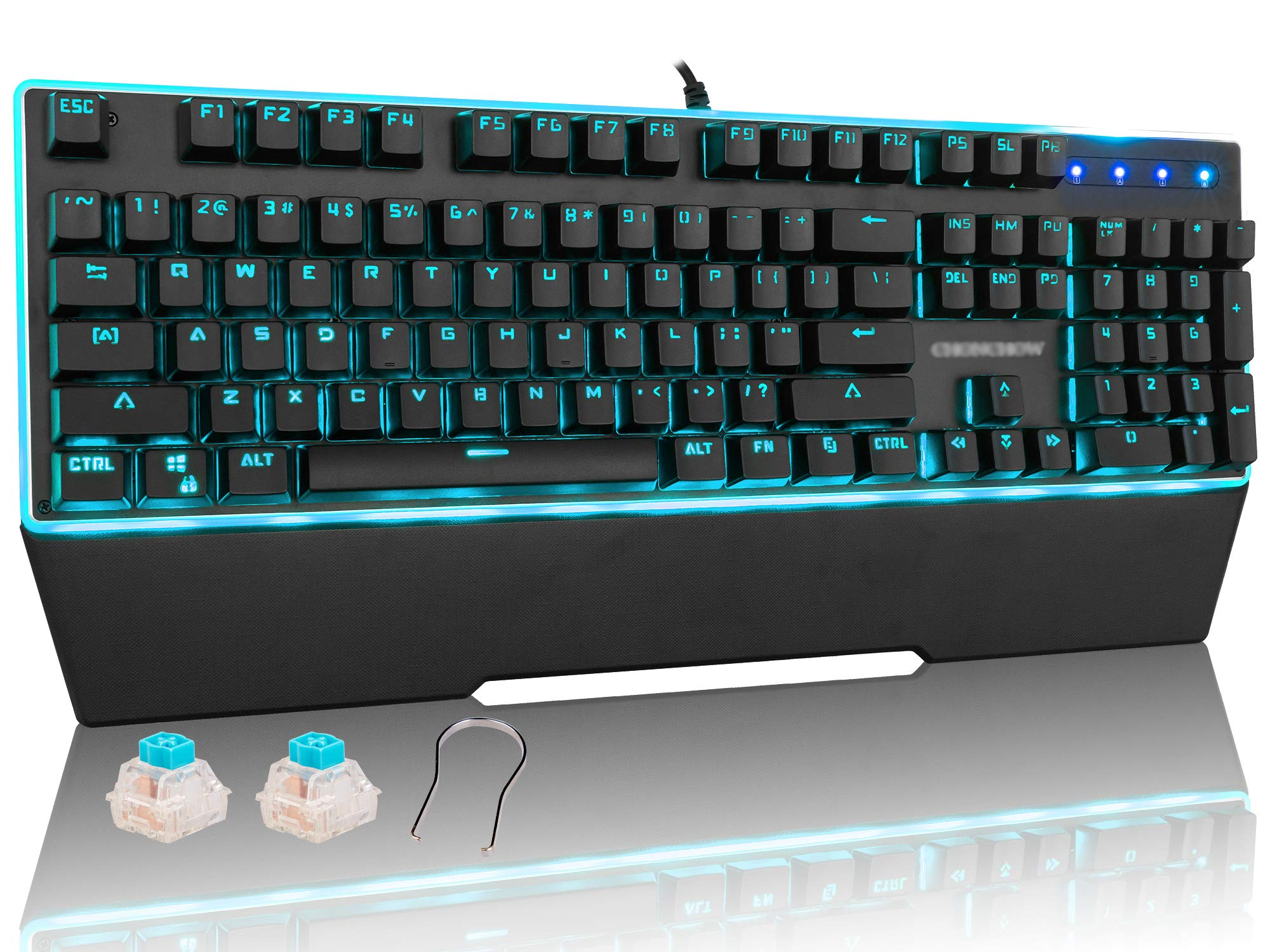 CHONCHOW RGB Blue Switch Mechanical Gaming Keyboard Electric Response 26 Keys Anti-ghosting USB Wired LED Backlit Keyboard Compatible with PC PS4 Mac Xbox - Black by CHONCHOW
