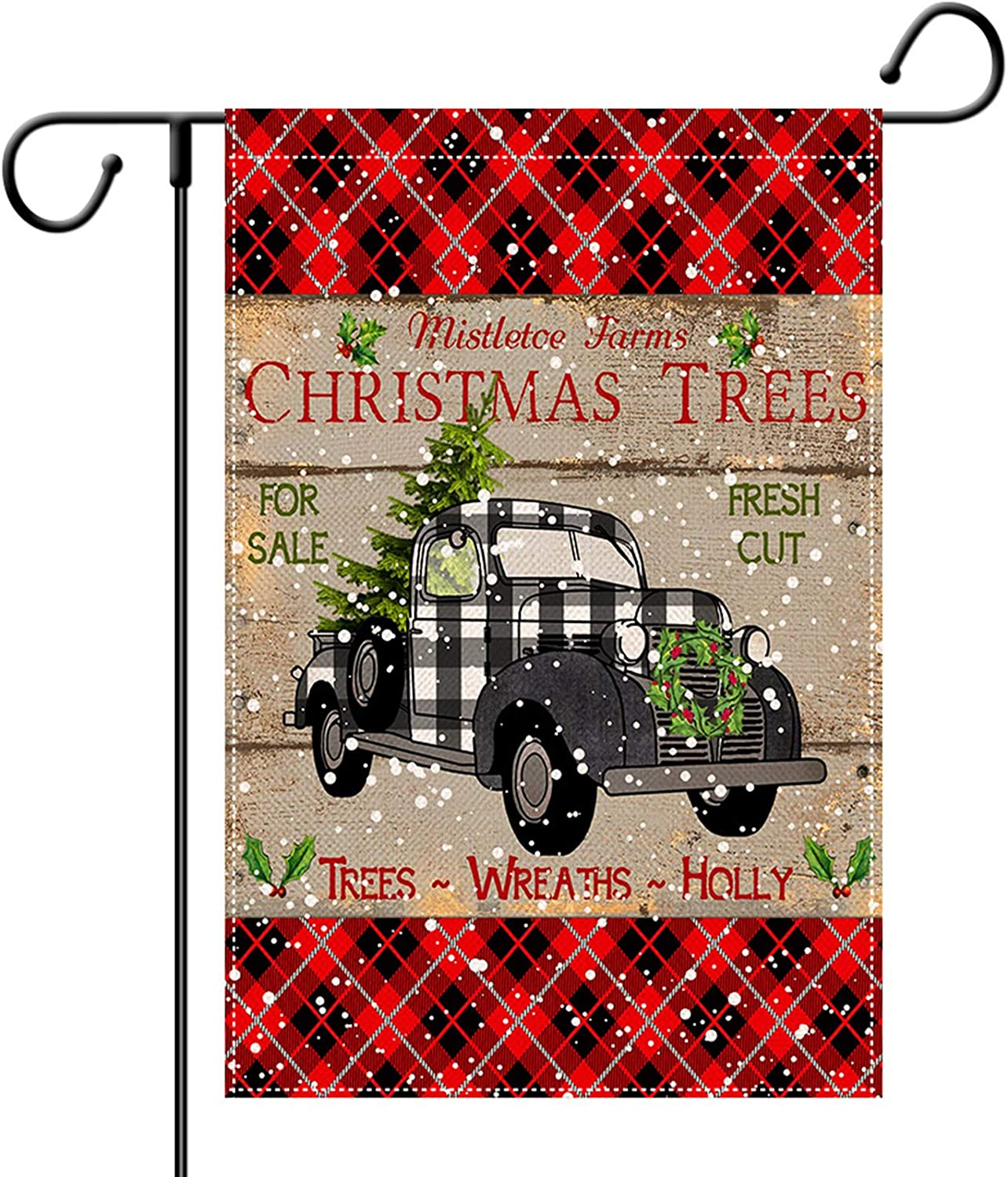 EKOREST Christmas Garden Flag for Outdoor Truck Buffalo Check Plaid Vertical Double Sided 12.5x18 Inch Christmas Decorations Marry Christmas Yard Sign Winter Xmas Decor for Farmhouse Porch Patio