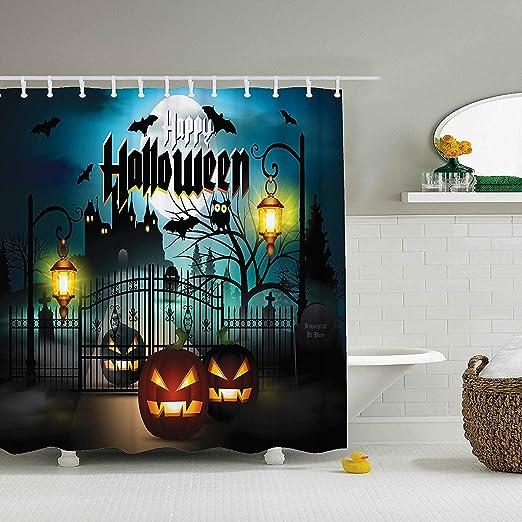 Amazon.com: ZBLX Cortina de ducha de Halloween, tela ...