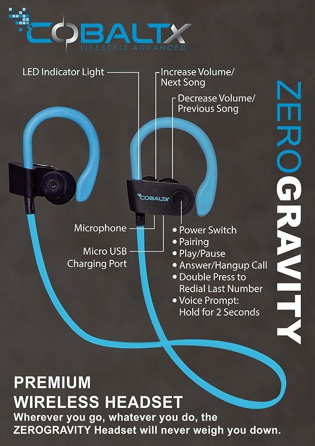 Amazon.com: COBALTX ZERO GRAVITY Sweat Resistant Super Lightweight Bluetooth Wireless Premium Stereo Headsets Sports Earphones 5 Hours of Music 30 Foot ...