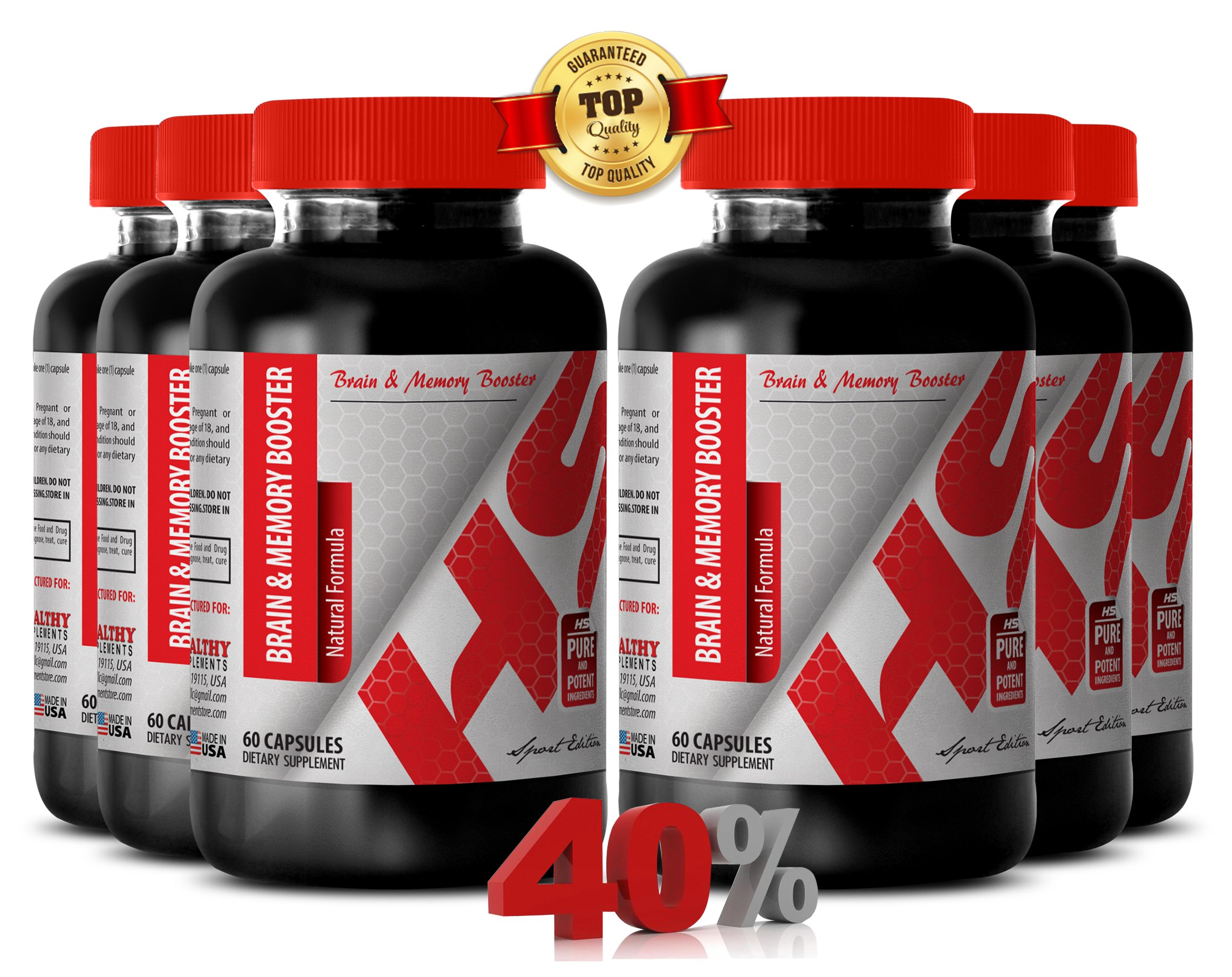 L carnitine powder supplement - BRAIN AND MEMORY BOOSTER NATURAL FORMULA - support circulation (6 Bottles)