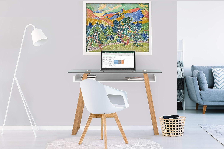 bonVIVO Escritorio de Diseño Massimo, Mesa para Ordenador Moderno con Cristal, Madera Natural y Estantes Lacados en un Diseño Contemporáneo