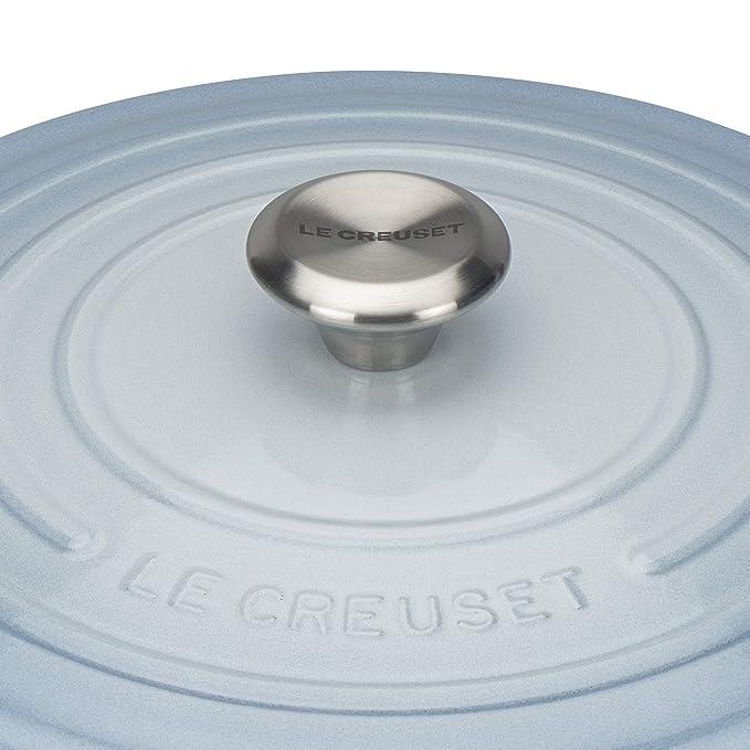 LE CREUSET Evolution Cocotte con Tapa, Redonda, Todas Las Fuentes de Calor Incl. inducción, 6,7 l, Hierro Fundido, Azul (Coastal), 28 cm