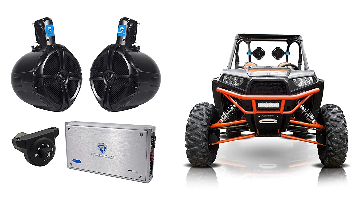 2 Amp+Bluetooth Contoller For RZR//ATV//UTV Rockville 8 Tower Speakers+2-Ch