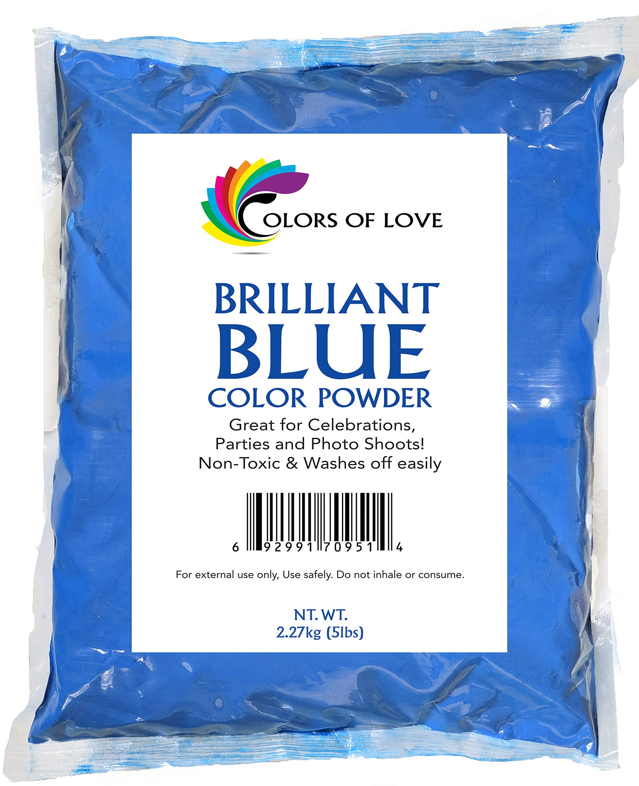 Colors of Love Blue Holi Color Powder - 5 Pound Bag - Ideal for events, bath bombs, youth group color wars, Holi events and more! (5LB) by Colors of Love