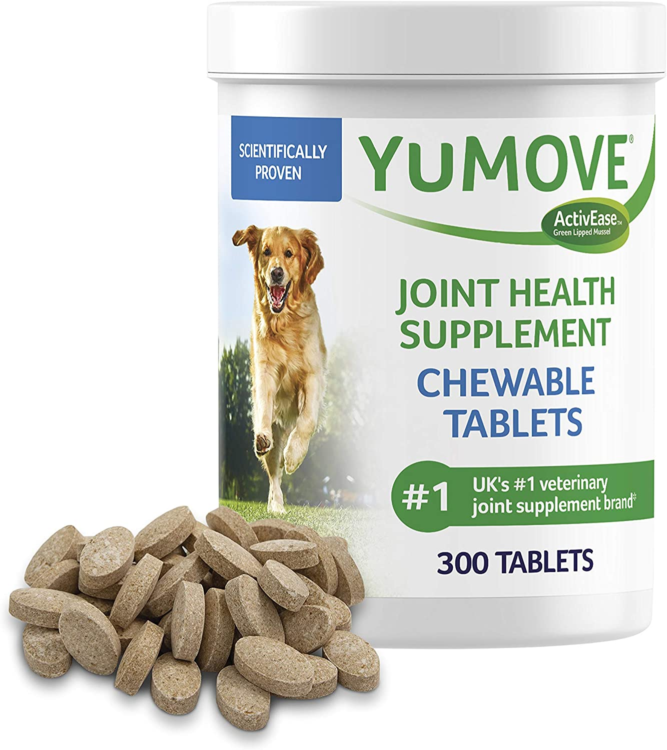 Dog Joint Supplement, Hip and Joint Supplement for Dogs with Glucosamine, Hyaluronic Acid, and Green Lipped Mussel and Omegas, Relief for Dog Hip and Joint Aches, by YuMOVE - 300 Chewable Tablets…