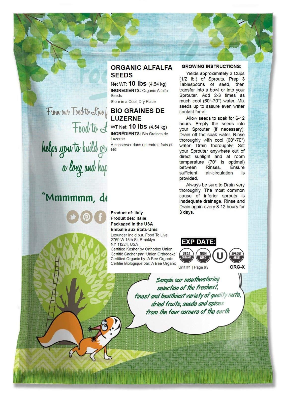 Organic Alfalfa Sprouting Seeds, 10 Pounds - Non-GMO, Kosher, Raw, Vegan, Bulk by Food to Live (Image #2)