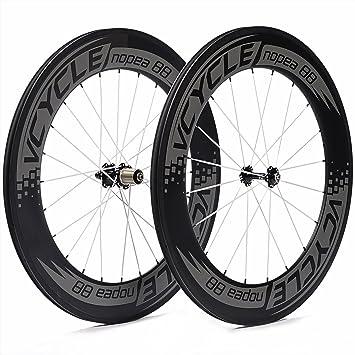 VCYCLE Nopea 700C 88mm Carbono Carretera Bicicleta Rueda Copertoncino Juego para Shimano o Sram 8/9/10/11 Velocidad: Amazon.es: Deportes y aire libre