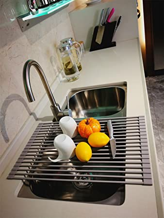 Leasen Over Sink Silicone Roll Up Dish Drying Rack Dish Drainer Tray(Square  Rob