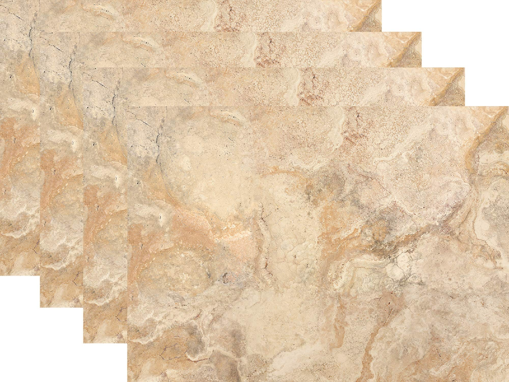 Blissful Living Set of 4 Placemats, Heat Stain Resistant - Decorate Your Kitchen Table Our Beautiful Rectangle pad placemat (Travertine Marble)