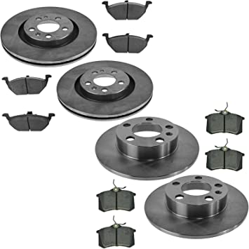 Fit 1999 Volkswagen Beetle Rear PowerSport Blank Brake Rotors+Semi-Met Brake Pad