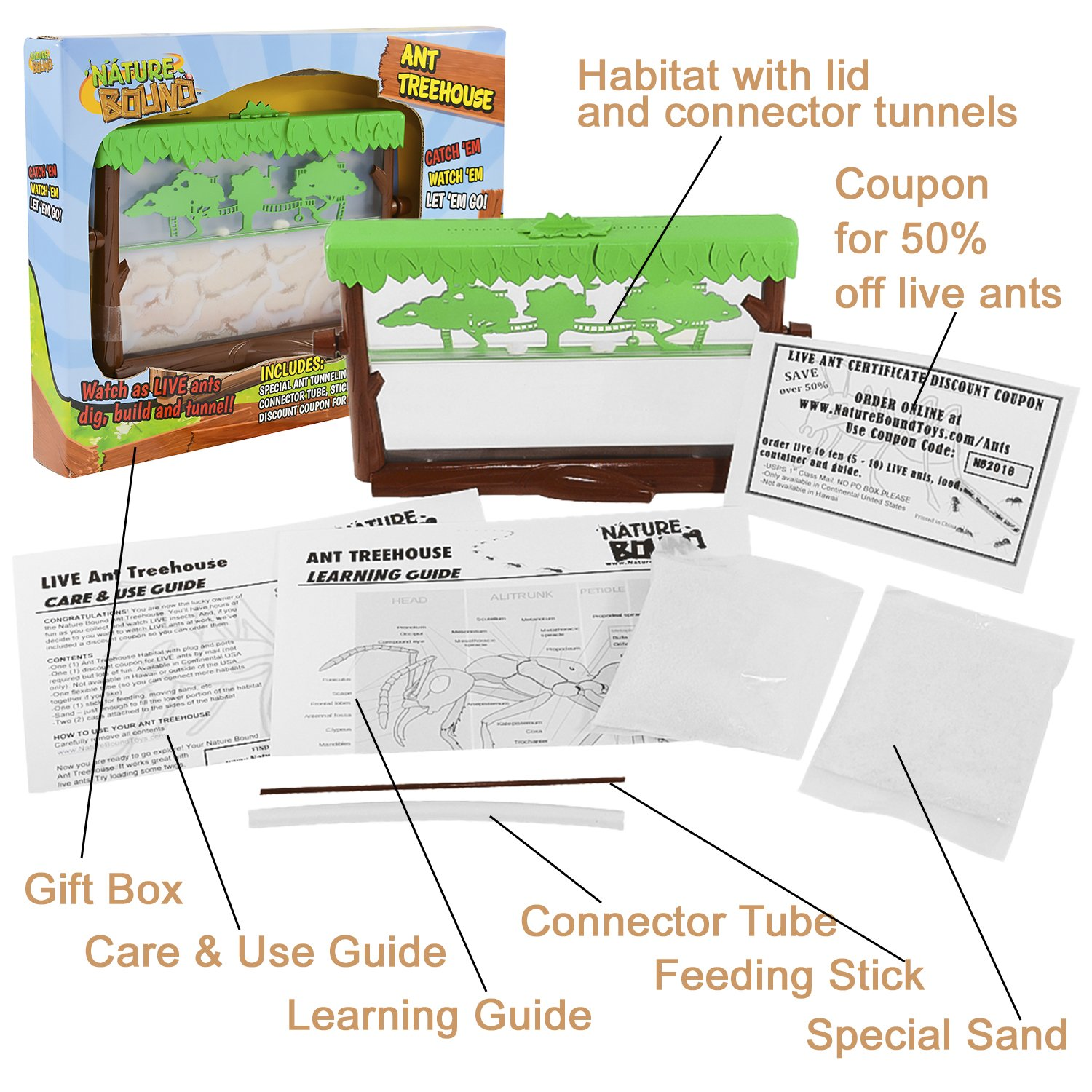 Nice Treehouse Supplies Coupon Code Part - 1: Amazon.com: Nature Bound Ant Treehouse Habitat Kit With Sand, Connector  Tube, Feeding Stick U0026 Insect Instructions, One Size: Toys U0026 Games