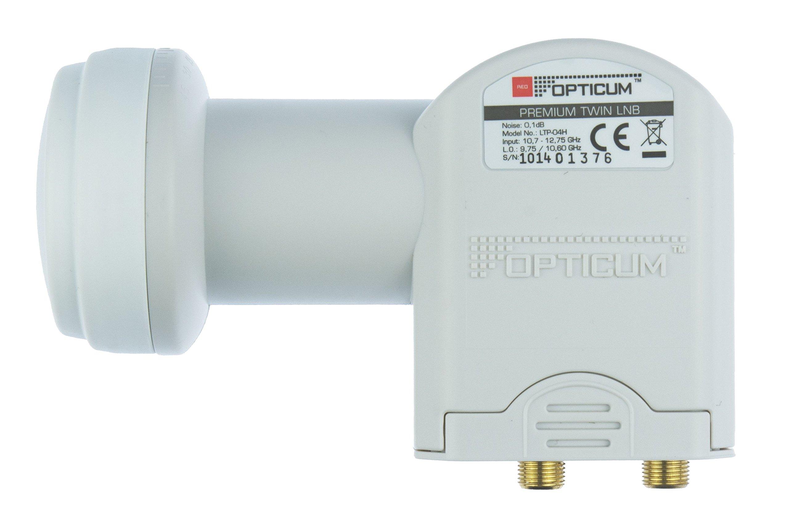 Opticum, convertidor LNB Doble LTP 04H con Conectores Dorados (Full HD, 3D)