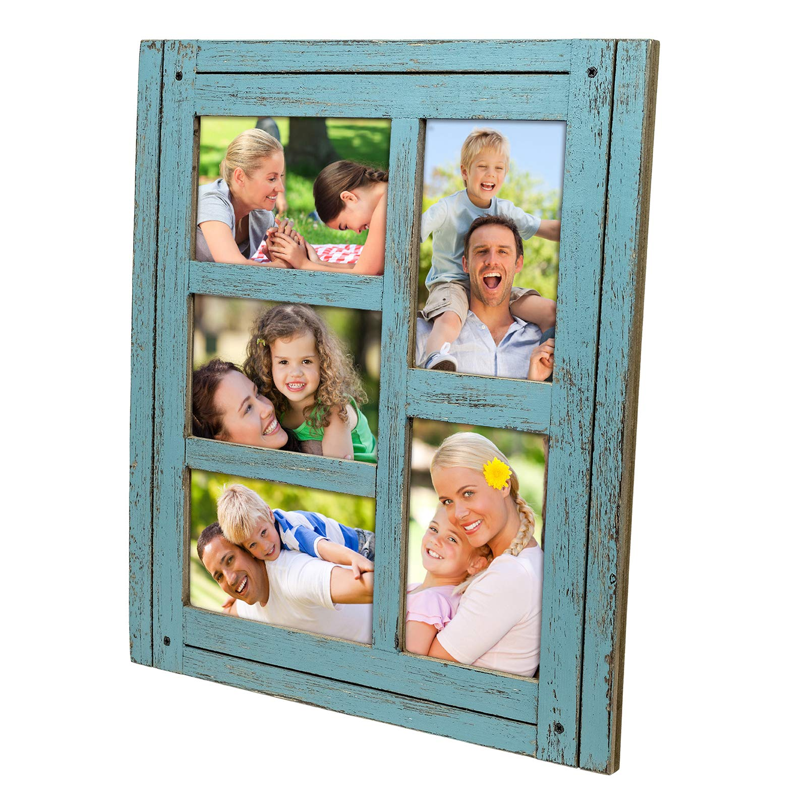 Collage Picture Frames from Rustic Distressed Wood: Holds Five 4x6 Photos: Ready to Hang or use Tabletop. Shabby Chic, Driftwood, Barnwood, Farmhouse, Reclaimed Wood Picture Frame Collage (Blue) by Excello Global Products