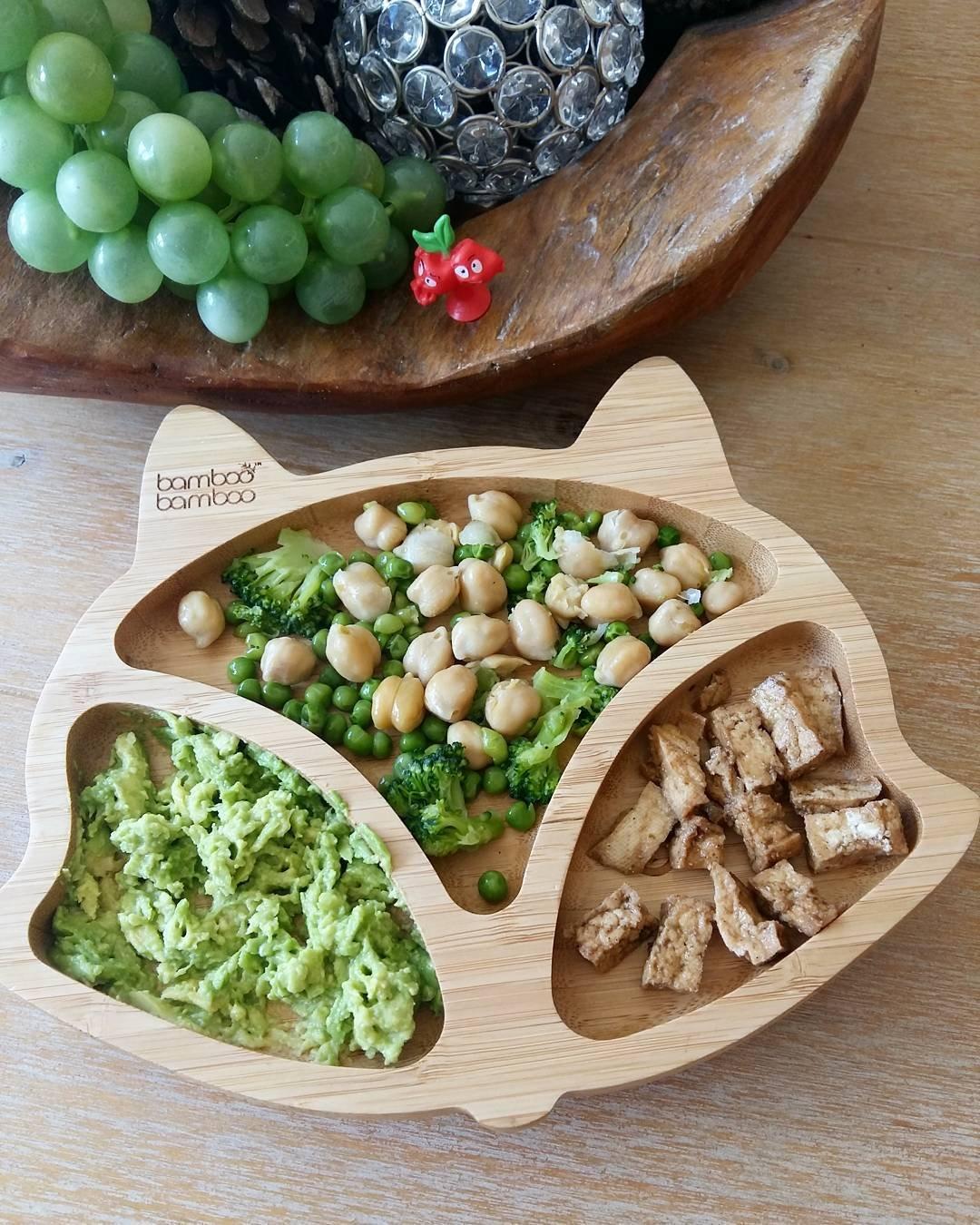 Fuchs Baby Saugnapf-Teller Standfeste Saug-F/ütter-Teller aus naturbelassenem Bambus