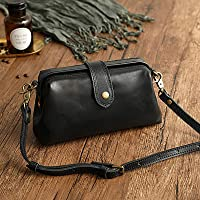 Premium Leather Retro Handmade Bag, Retro Handmade Leather Doctor Bag Crossbody, Unique Opening Women Crossboy Bag…