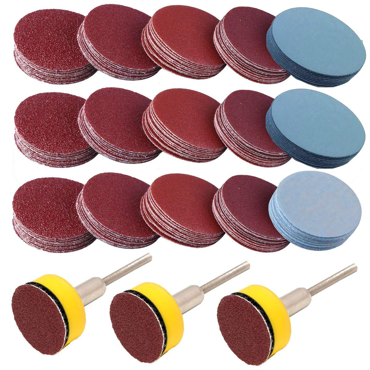 300PCS Sanding Discs Backing Pads, VÉZAAR 1 inch Hook and Look Grinding Discs with Sticker Backer Plate 1/8 inch Shank of 80 120 140 400 600 1000 1500 3000 5000 Grit