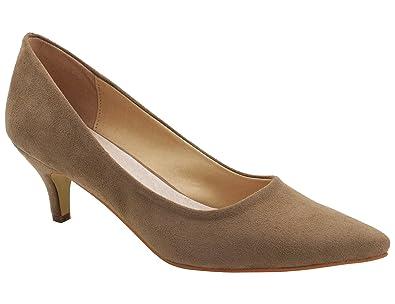 052c99af386 Greatonu Womens Beige Formal Classic Mid Heel Suede Dress Pumps Size 5