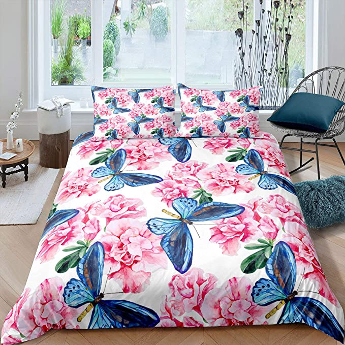 Erosebridal Sunflower Coverlet Set Sketch Floral Bedspread for Kids Boys Girls Blossom Botanical Quilt Petal Love Yourself Tie Dye Marble Bed Cover with 1 Pillow Case Twin Size Yellow White Black