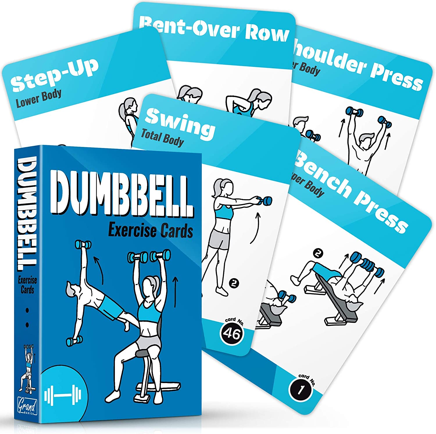 GRAND BASICS Dumbbell Workout Cards Deck – Perfect Large Size Dumbbell Exercise Cards for Home or Travel – Fitness Cards Includes 50 Different Exercises with Bonus Cards