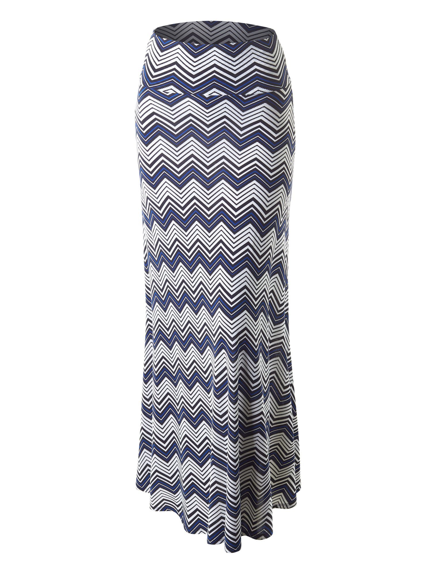 Lock and Love WB1191 Womens Chevron Print Maxi Skirt S Black_Royal