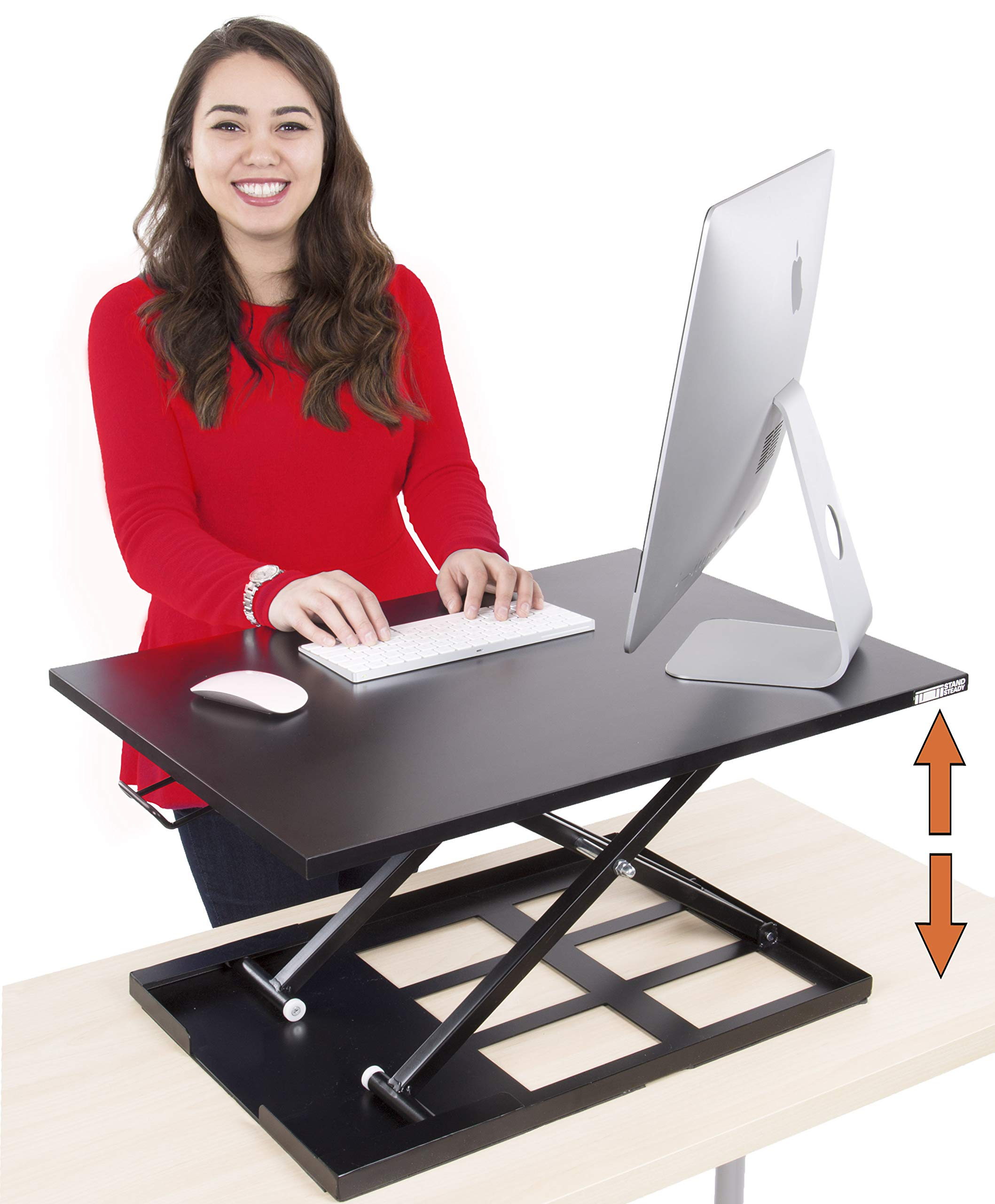 Stand Steady Standing Desk X-Elite Standing Desk | X-Elite Pro Version, Instantly Convert Any Desk Into a Sit/Stand Up Desk, Height-Adjustable, Fully Assembled Desk Converter (Black / 28 Inch) by Stand Steady