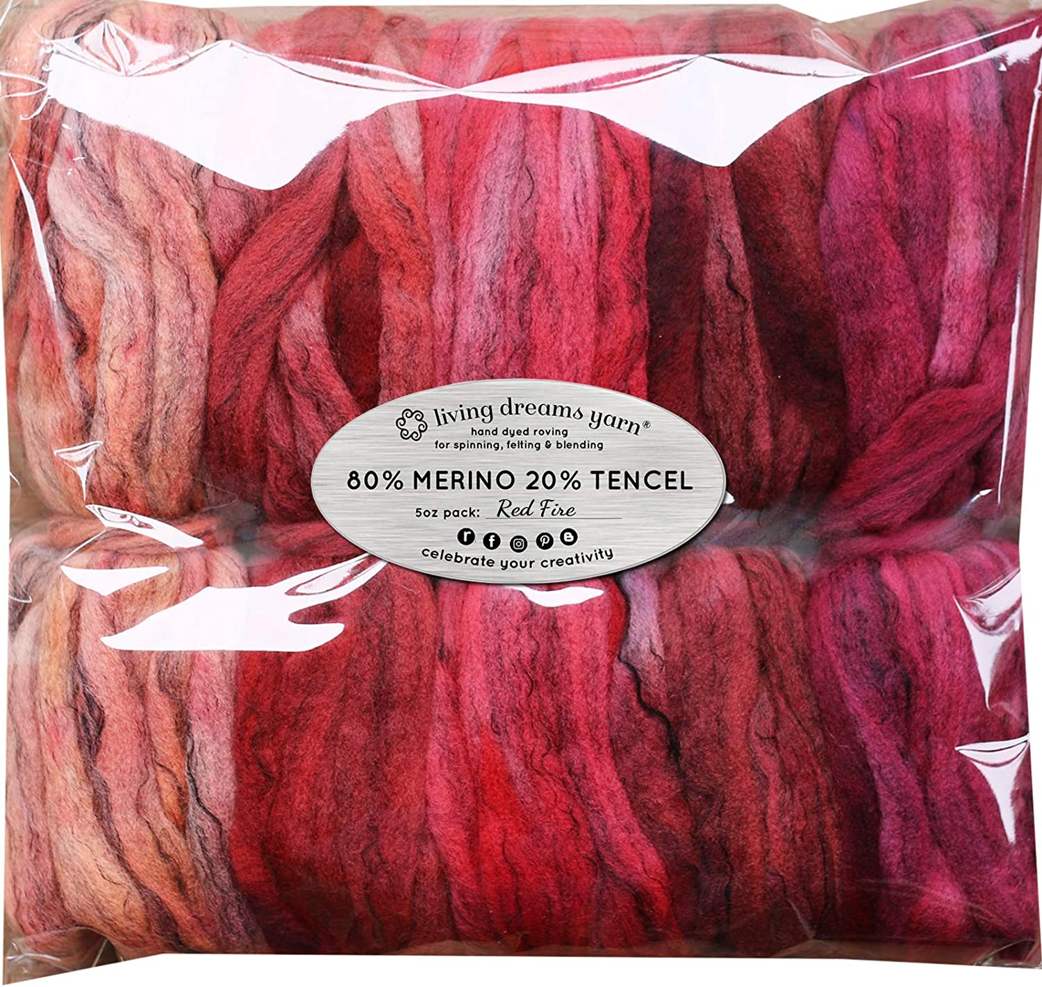 Felting Blending and Weaving HAND DYED Merino Tencel SPINNING FIBER 5 beautifully colored Mini Skeins DISCOUNT PACK Super Soft Wool Top Roving drafted for Hand Spinning Red Fire